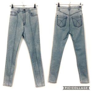 Vtg Super High Waisted Acid Wash Skinny Jeans